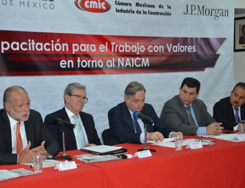 """Presentan CMIC, GACM y JPMorgan Chase Foundation el """"Programa de capacitación para el trabajo con valores"""" del Nuevo Aeropuerto Internacional de México"""