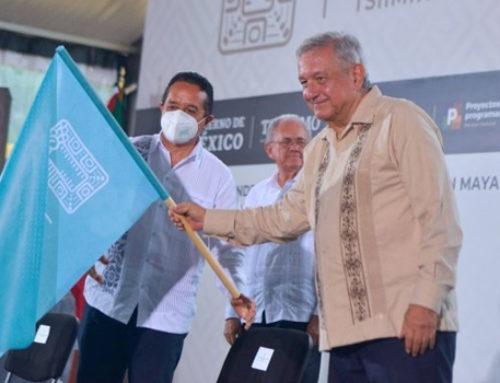 AMLO da banderazo de inicio de obras en el tramo Izamal-Cancún del Tren Maya
